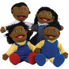 FULL BODIED OPEN MOUTH PUPPETS - BLACK FAMILY *FD